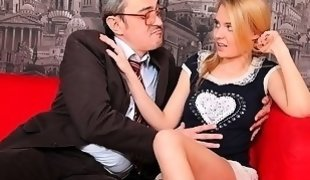 Pervy old teacher gets it on with the beautiful Mary