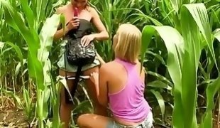 Cute Girls Having Some Lesbian Sex On A Corn Field