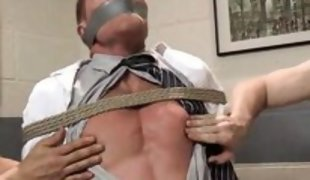 tied up guy used by two horny cocks