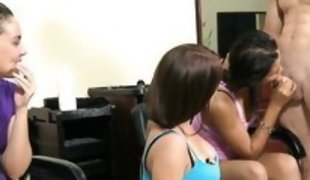 bitches at a hair saloon playing with a hard cock