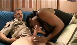 ebony police babe gets interracial from co worker