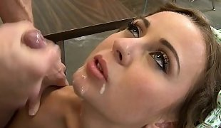 Petite naughty bookworm Mae Meyers takes facial