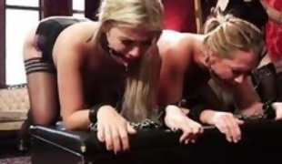 tied blondes in pantyhose get whipped by mistress